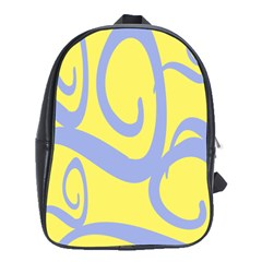 Doodle Shapes Large Waves Grey Yellow Chevron School Bags (xl)  by Alisyart