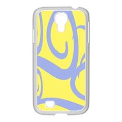 Doodle Shapes Large Waves Grey Yellow Chevron Samsung Galaxy S4 I9500/ I9505 Case (white) by Alisyart