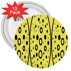 Easter Egg Shapes Large Wave Black Yellow Circle Dalmation 3  Buttons (10 Pack)  by Alisyart