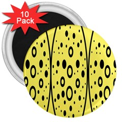 Easter Egg Shapes Large Wave Black Yellow Circle Dalmation 3  Magnets (10 Pack)  by Alisyart