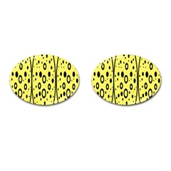 Easter Egg Shapes Large Wave Black Yellow Circle Dalmation Cufflinks (oval) by Alisyart