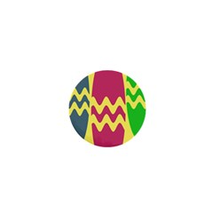 Easter Egg Shapes Large Wave Green Pink Blue Yellow 1  Mini Buttons by Alisyart