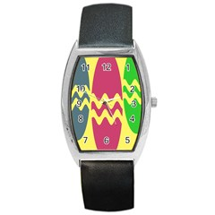 Easter Egg Shapes Large Wave Green Pink Blue Yellow Barrel Style Metal Watch by Alisyart