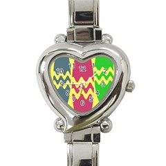 Easter Egg Shapes Large Wave Green Pink Blue Yellow Heart Italian Charm Watch by Alisyart