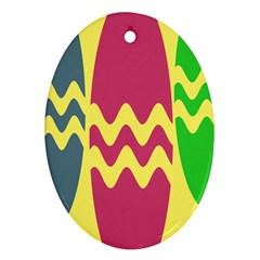 Easter Egg Shapes Large Wave Green Pink Blue Yellow Oval Ornament (two Sides) by Alisyart