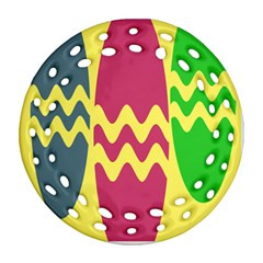 Easter Egg Shapes Large Wave Green Pink Blue Yellow Round Filigree Ornament (two Sides) by Alisyart