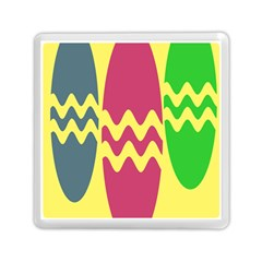 Easter Egg Shapes Large Wave Green Pink Blue Yellow Memory Card Reader (square)  by Alisyart