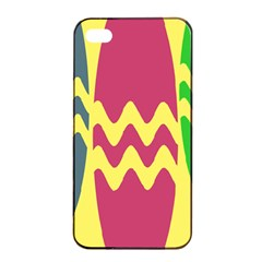 Easter Egg Shapes Large Wave Green Pink Blue Yellow Apple Iphone 4/4s Seamless Case (black) by Alisyart