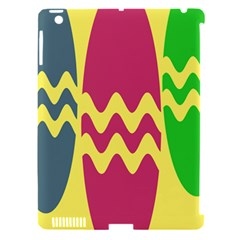Easter Egg Shapes Large Wave Green Pink Blue Yellow Apple Ipad 3/4 Hardshell Case (compatible With Smart Cover) by Alisyart