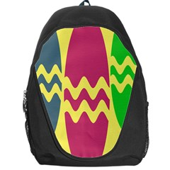 Easter Egg Shapes Large Wave Green Pink Blue Yellow Backpack Bag by Alisyart