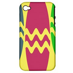 Easter Egg Shapes Large Wave Green Pink Blue Yellow Apple Iphone 4/4s Hardshell Case (pc+silicone) by Alisyart
