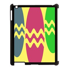 Easter Egg Shapes Large Wave Green Pink Blue Yellow Apple Ipad 3/4 Case (black) by Alisyart