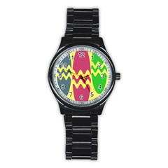 Easter Egg Shapes Large Wave Green Pink Blue Yellow Stainless Steel Round Watch by Alisyart