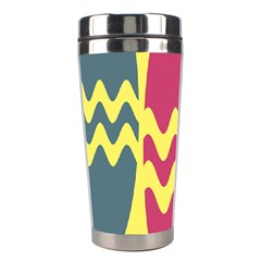 Easter Egg Shapes Large Wave Green Pink Blue Yellow Stainless Steel Travel Tumblers by Alisyart