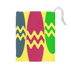 Easter Egg Shapes Large Wave Green Pink Blue Yellow Drawstring Pouches (large)  by Alisyart