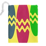 Easter Egg Shapes Large Wave Green Pink Blue Yellow Drawstring Pouches (XXL) Back
