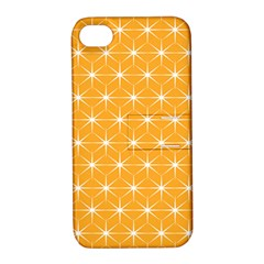 Yellow Stars Light White Orange Apple Iphone 4/4s Hardshell Case With Stand by Alisyart