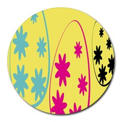 Easter Egg Shapes Large Wave Green Pink Blue Yellow Black Floral Star Round Mousepads by Alisyart