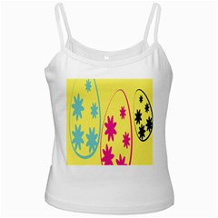 Easter Egg Shapes Large Wave Green Pink Blue Yellow Black Floral Star White Spaghetti Tank by Alisyart