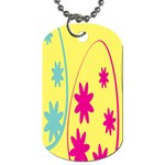 Easter Egg Shapes Large Wave Green Pink Blue Yellow Black Floral Star Dog Tag (One Side) Front