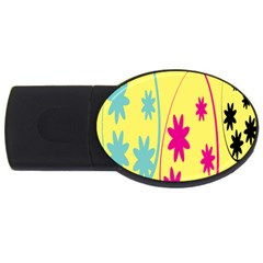 Easter Egg Shapes Large Wave Green Pink Blue Yellow Black Floral Star Usb Flash Drive Oval (2 Gb) by Alisyart