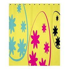 Easter Egg Shapes Large Wave Green Pink Blue Yellow Black Floral Star Shower Curtain 60  X 72  (medium)  by Alisyart