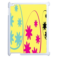 Easter Egg Shapes Large Wave Green Pink Blue Yellow Black Floral Star Apple Ipad 2 Case (white) by Alisyart