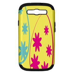 Easter Egg Shapes Large Wave Green Pink Blue Yellow Black Floral Star Samsung Galaxy S Iii Hardshell Case (pc+silicone) by Alisyart