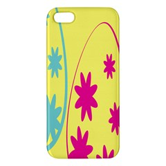 Easter Egg Shapes Large Wave Green Pink Blue Yellow Black Floral Star Iphone 5s/ Se Premium Hardshell Case by Alisyart