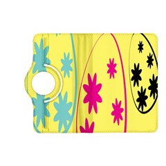 Easter Egg Shapes Large Wave Green Pink Blue Yellow Black Floral Star Kindle Fire Hd (2013) Flip 360 Case by Alisyart