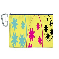 Easter Egg Shapes Large Wave Green Pink Blue Yellow Black Floral Star Canvas Cosmetic Bag (xl) by Alisyart