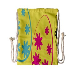 Easter Egg Shapes Large Wave Green Pink Blue Yellow Black Floral Star Drawstring Bag (small) by Alisyart