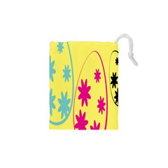 Easter Egg Shapes Large Wave Green Pink Blue Yellow Black Floral Star Drawstring Pouches (xs)  by Alisyart