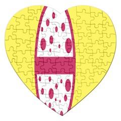 Easter Egg Shapes Large Wave Pink Yellow Circle Dalmation Jigsaw Puzzle (heart) by Alisyart