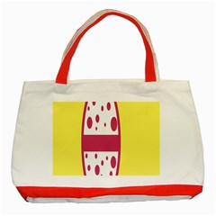 Easter Egg Shapes Large Wave Pink Yellow Circle Dalmation Classic Tote Bag (red) by Alisyart