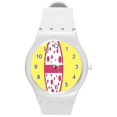 Easter Egg Shapes Large Wave Pink Yellow Circle Dalmation Round Plastic Sport Watch (m) by Alisyart