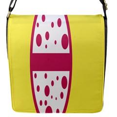 Easter Egg Shapes Large Wave Pink Yellow Circle Dalmation Flap Messenger Bag (s) by Alisyart