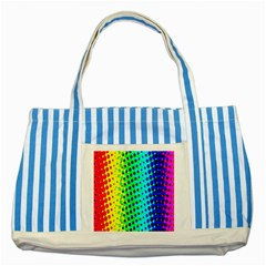 Comic Strip Dots Circle Rainbow Striped Blue Tote Bag by Alisyart