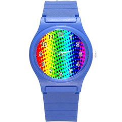 Comic Strip Dots Circle Rainbow Round Plastic Sport Watch (s) by Alisyart