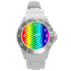 Comic Strip Dots Circle Rainbow Round Plastic Sport Watch (l) by Alisyart