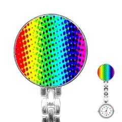 Comic Strip Dots Circle Rainbow Stainless Steel Nurses Watch by Alisyart
