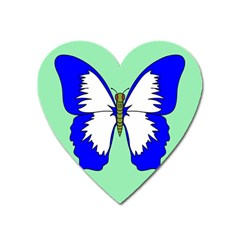 Draw Butterfly Green Blue White Fly Animals Heart Magnet by Alisyart