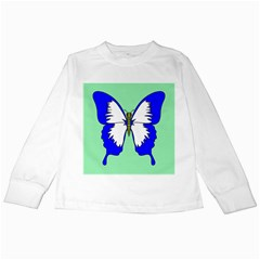 Draw Butterfly Green Blue White Fly Animals Kids Long Sleeve T Shirts
