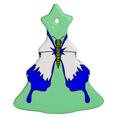 Draw Butterfly Green Blue White Fly Animals Christmas Tree Ornament (two Sides) by Alisyart