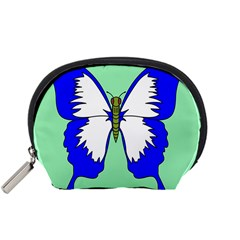 Draw Butterfly Green Blue White Fly Animals Accessory Pouches (small)  by Alisyart