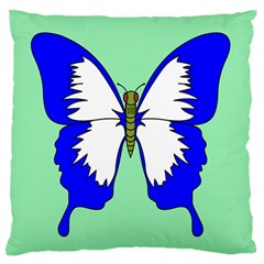 Draw Butterfly Green Blue White Fly Animals Standard Flano Cushion Case (two Sides) by Alisyart