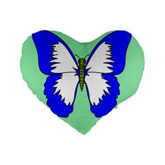 Draw Butterfly Green Blue White Fly Animals Standard 16  Premium Flano Heart Shape Cushions by Alisyart