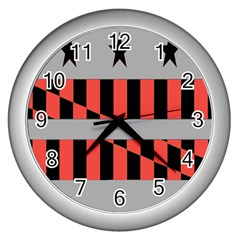 Falg Sign Star Line Black Red Wall Clocks (silver)  by Alisyart
