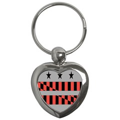 Falg Sign Star Line Black Red Key Chains (heart)  by Alisyart