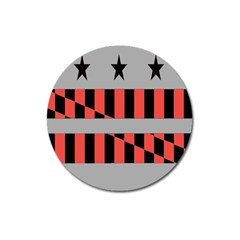 Falg Sign Star Line Black Red Magnet 3  (round) by Alisyart